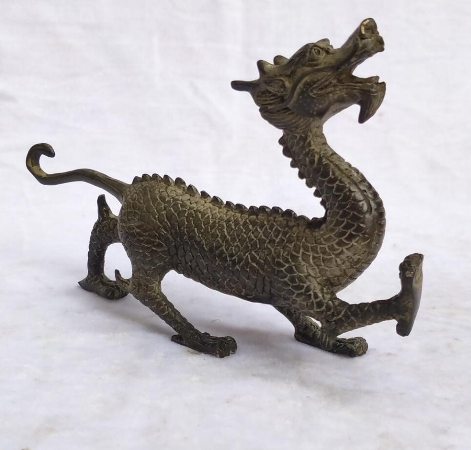 Collection Chinese Old Bronze Carved Azure Dragon Sculpture home decoration antique Dragon statue Long 19 CM /7.6 INCH