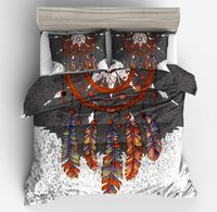 Bohemian Stgle Bedding Set Feathers Duvet Cover gray white Bed Set Beautiful Pillow case Home ornament twin full queen king size