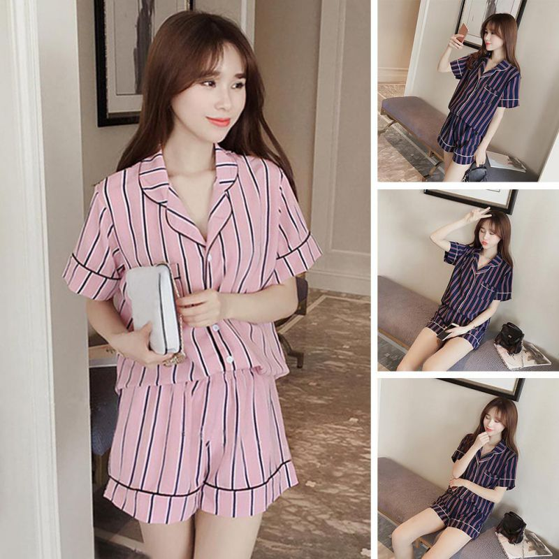 d41f3fa051 Summer 2018 New Fashion Women Pajamas Turn-down Collar Sleepwear ...