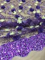 Бесплатная доставка (5 ярдов/шт) Высокое качество Африканский 3d Цветы Тюль Кружева с большим количеством блестками и бисером вышивка для пла