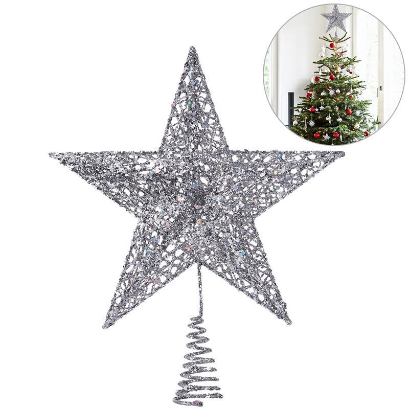 25cm Silver Star Tree Topper Exquisite Shimmery Christmas Decoration 5 Point Treetop Decor In Toppers From Home