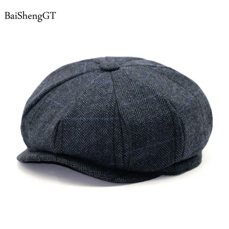 166fcc82 Women Men's Newsboy Caps Movie star Retro HERRINGBONE TWEED fashion  Octagonal Cap Driving Men Wool Fleece Hat winter Autumn Hats-in Newsboy Caps  from ...