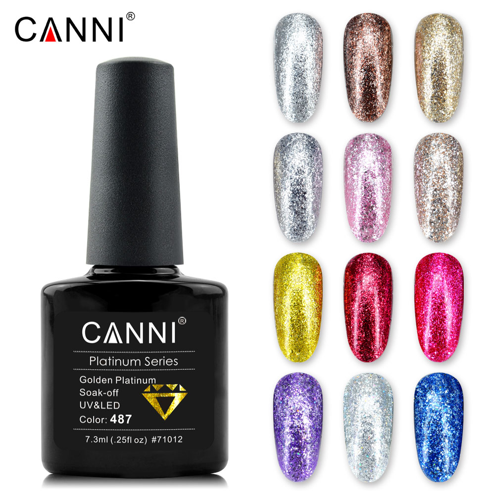 Offre spéciale CANNI 7.3 ml Gel à ongles UV vernis à ongles paillettes paillettes couleur feuille Gel brillant bon Gel à ongles UV couleur Gel de vernis à ongles