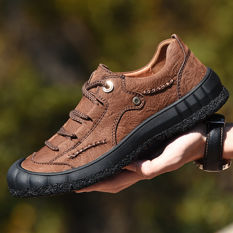 Top Quality Outdoor Men's Hiking Shoes Genuine Leather Handmade Lace Up Sneakers Breathable Zapatos Hombre Fashion Men Trainers
