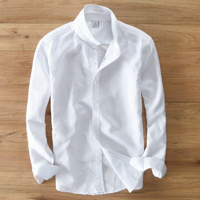 الربيع والخريف الرجال الموضة العلامة التجارية اليابان نمط سليم صالح القطن الكتان قميص طويل الأكمام الذكور قميص أبيض عادي استيراد الملابس