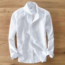 Camisa de manga larga de lino y algodón para hombre, camisa masculina de marca de moda de estilo japonés, ajustada, informal, color blanco, importar ropa