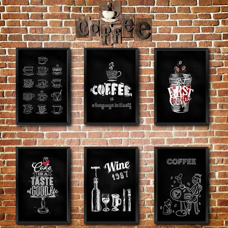 Canvas Modern Modular Poster Coffee-Painting Wall Artwork Simple-Pictures Printed Home-Decoration