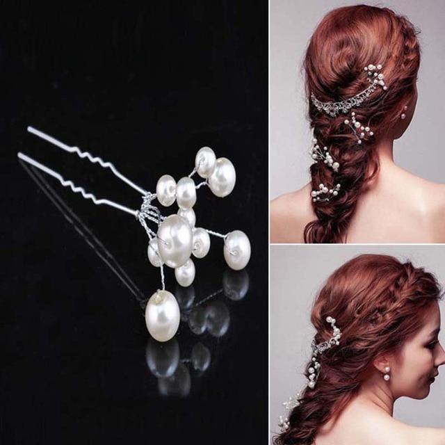 TREAZY Wholesale 6pcs/lot Wedding Bridal Pearl Flower Hair Pins Handmade Hair Clips Hairpin Bridesmaid Jewelry Hair Accessories