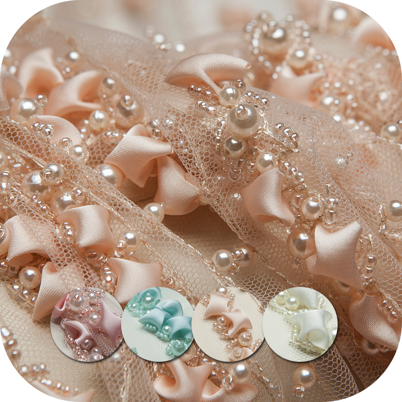 Charming beaded embroidery transparent mesh fabric for wedding dress,skirt,DIY,pink,mint,apricot,pearl white,craft by the yard