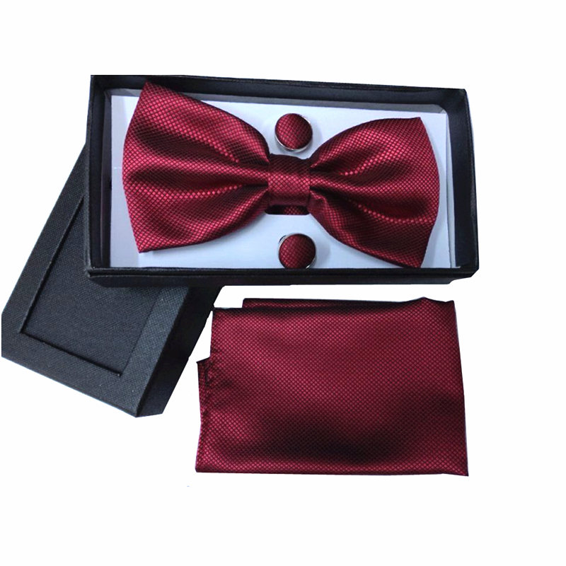 Bow Tie Set Men Vintage Black Yellow Silver Wedding Dress Mens Ties And Handkerchief Sets Necktie Cufflinks Boxes Gifts Box