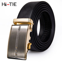 PD-2079 Hi-Tie Famous Brand Belt Men Male Genuine leather Strap Belts for Men Luxury Gold Buckle Automatic Business Black Belts hot sale business male black belts famous brand popular leather belt newest automatic buckle designer men black belt 2019