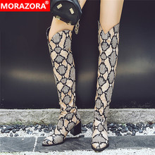 MORAZORA Plus größe 34 48 Neue frauen stiefel leopard platz heels herbst winter stiefel damen oberschenkel hohe über die knie stiefel