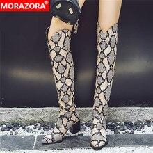 MORAZORA grande taille 34 48 nouvelles femmes bottes léopard talons carrés automne hiver bottes dames cuisse haute sur les bottes au genou