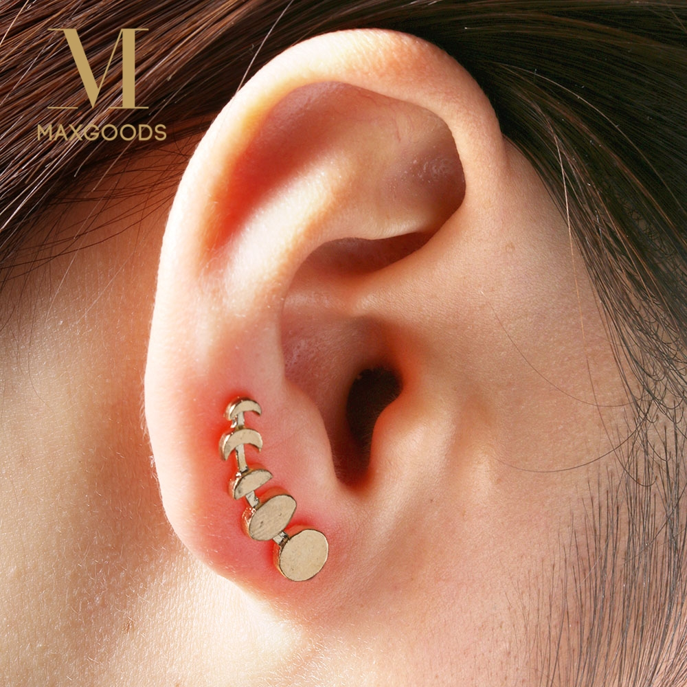 1 Pair Fashion Sweep Wrap Silver/Gold Moon Phases Cuffs  Earrings for Women Climber Ear Stub Jewelry золотые серьги по уху