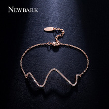 NEWBARK Adjustable Fashion Bracelet W Letter Paved CZ Rose And White Gold Plated Bracelets For Women Party Jewelry