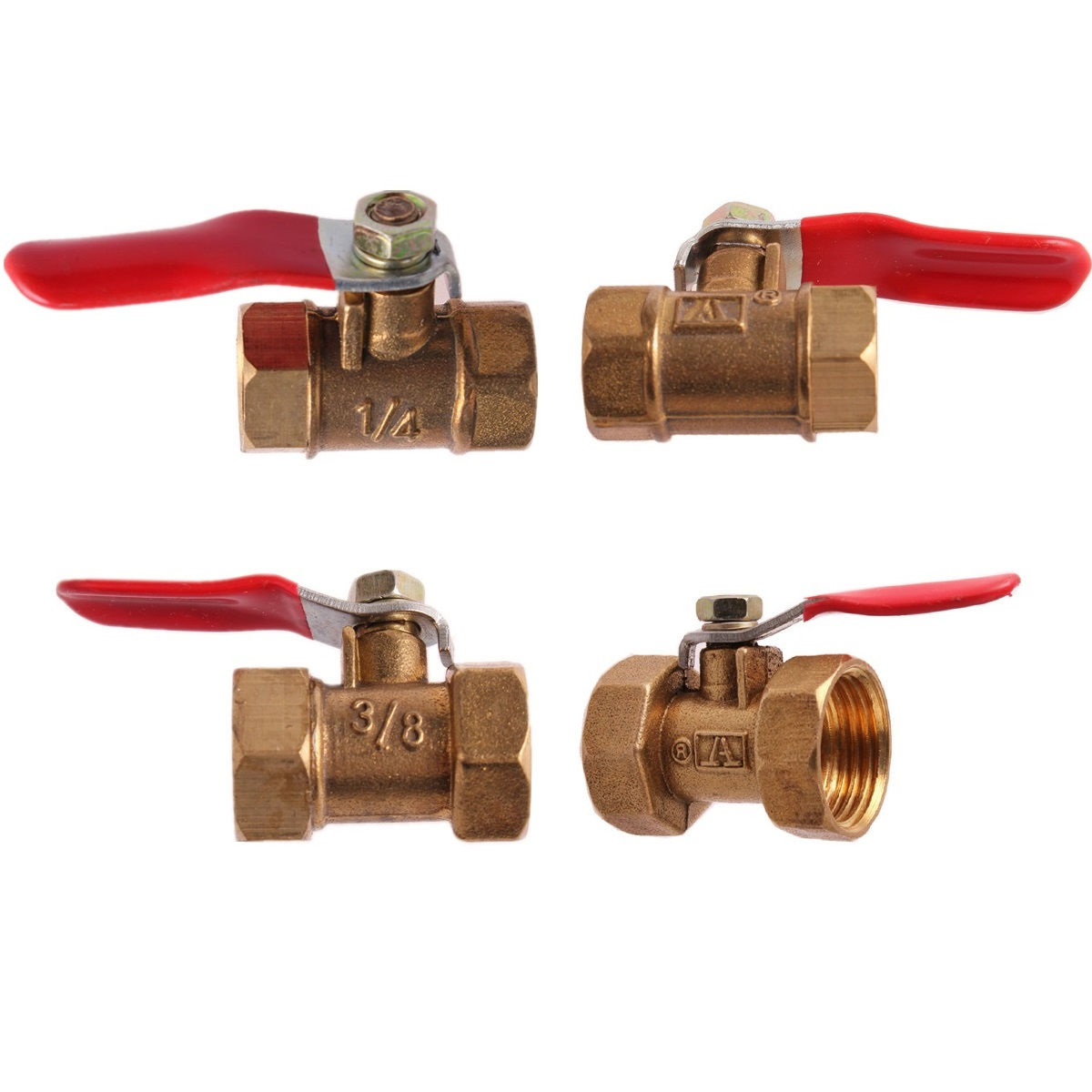 "Brass Ball Valve 1/8"" 1/4"" 3/8"" 1/2"" BSP Female Thread With Red Lever Handle Connector Joint Copper Pipe Fitting Coupler Adapter"