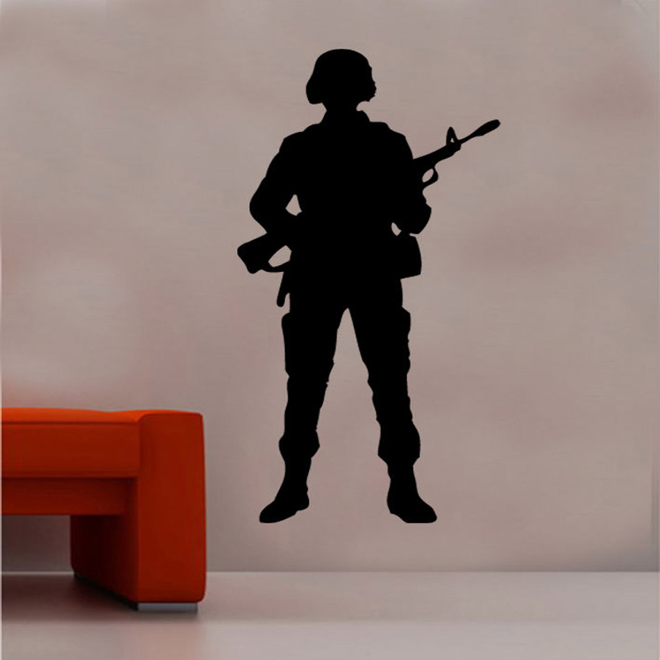 Soldier Wall Art Military enthusiasts weaponry vinyl wall stickers teen room school dormitory home decoration wall decals 2FJ3-in Wall Stickers from Home & Garden