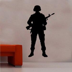 Image 1 - Stickers muraux en vinyle pour armes, stickers artistiques militaires, décalcomanies 2FJ3 pour chambre dadolescent, dortoir, école