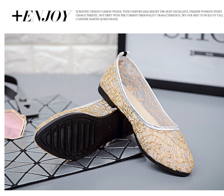 97df3bebfc32a Women Flat Casual Shoes Sexy Hollow Out Ballet Flats Female Slip on Bling  Glitter Boat Shoes Woman Pointed Toe Zapatillas Mujer