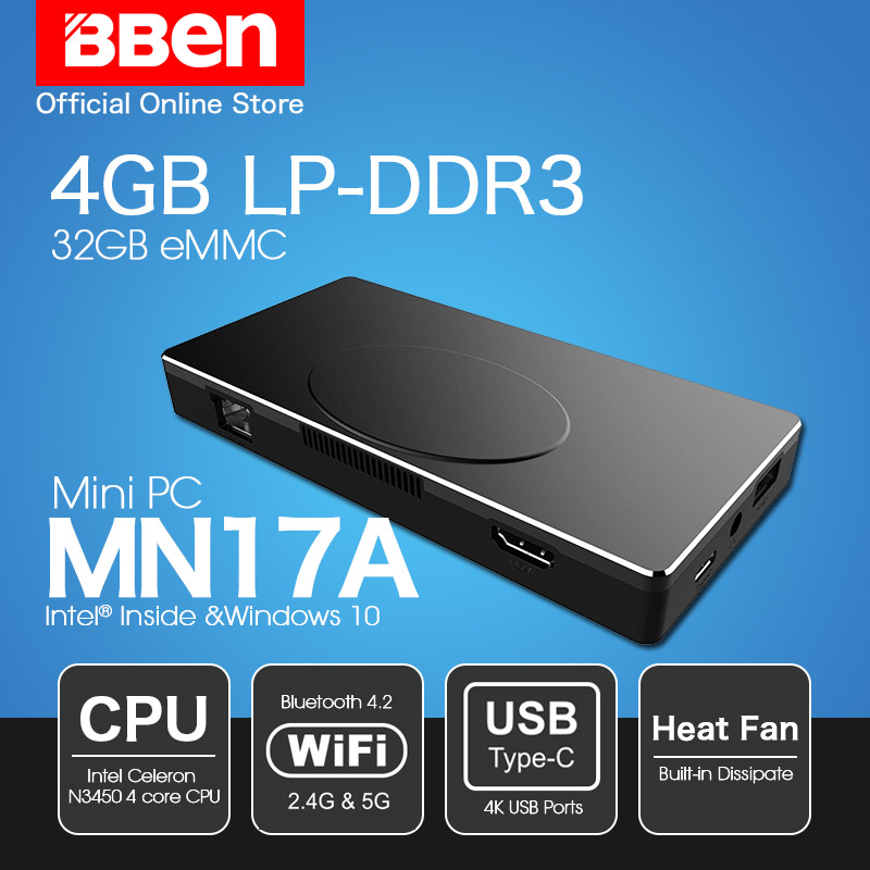 Freeship Bben MN17A windows 10 Intel Apollo N3450 CPU mini pc stick 4GB ram+32GB SSD Black Wireless Wifi BT4.0 Mini PC Computer voyo mini pc v1 n4200 4gb 8gb ddr3l ram 128 256gb ssd windows 10 pocket pc intel lake apollo cpu 4k hd output 3 x usb3 0