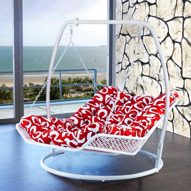 Double Deck Chair Hammock Rocking Knitting Basket Wicker Outdoor Swing  Hanging Rattan Blue Adult Balcony