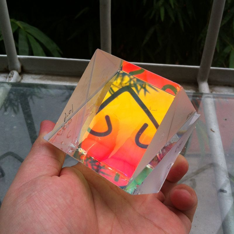 Large Size Science Toys Defective Lens Splitter Prism Cross Dichroic X-Cube Prism RGB Combiner with Flaw