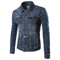 Men's Blue denim jacket outwear coats New Male slim denim jackets High quality 100% cotton Jean jackets