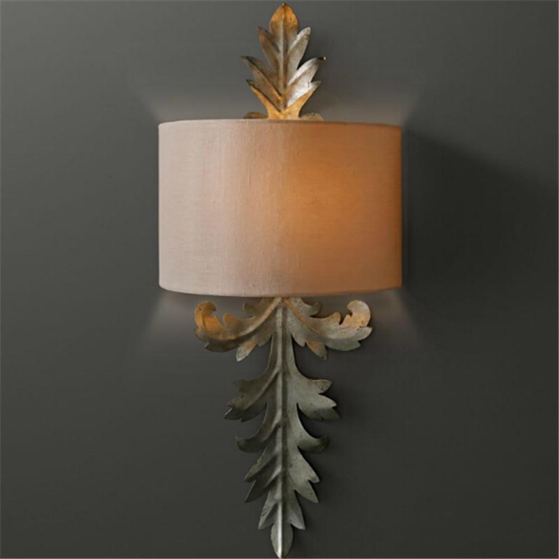 Lâmpada de parede francês pano jardim quarto sala arandela Antigo Ferro levou luz Americano lâmpada de parede quarto dos miúdos ya72732