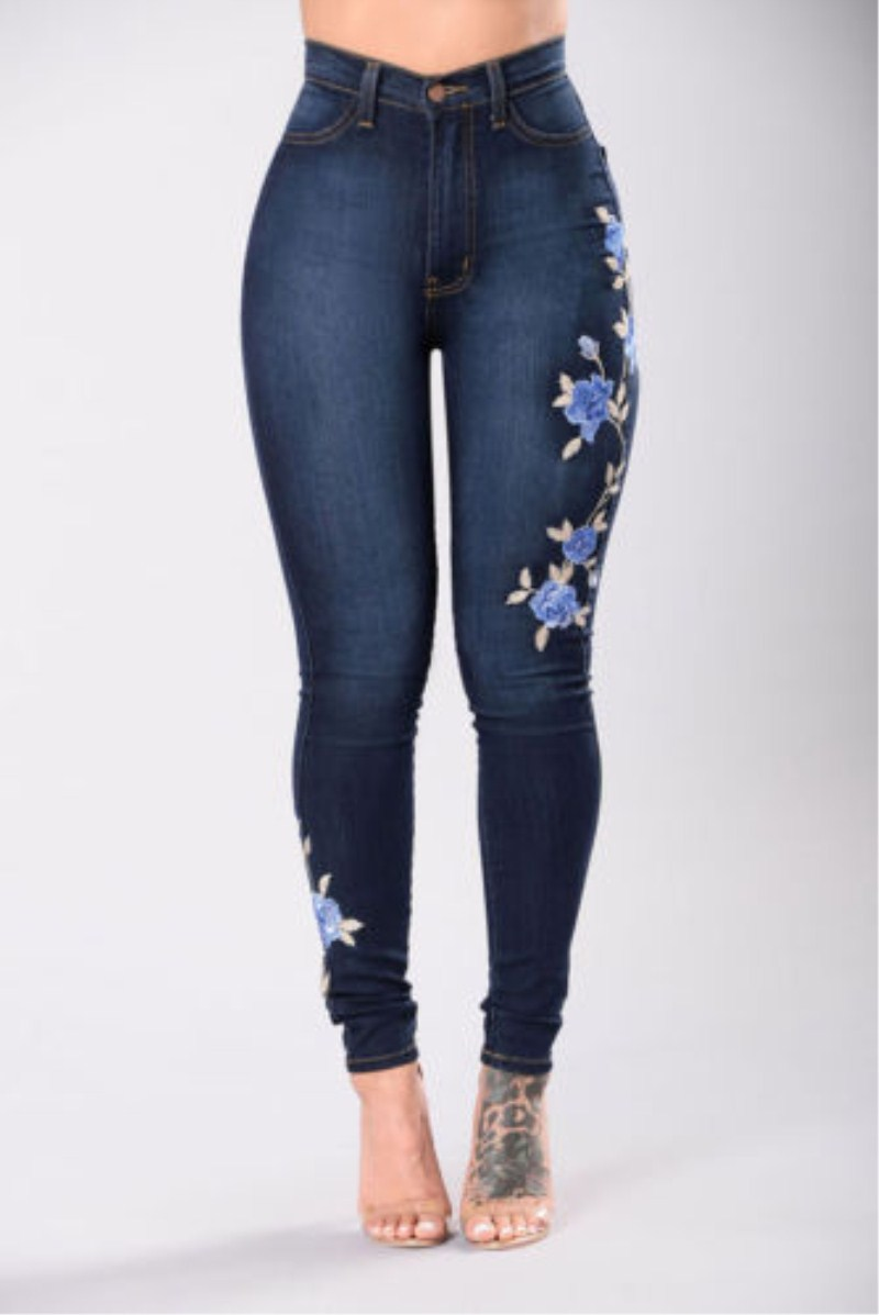 Plus Size New Women Stretch Ripped Floral Print Pencil Jeans High Waist Empire Bodycon Slim Denim Pants Jeans Trousers Rompers rosicil new women jeans low waist stretch ankle length slim pencil pants fashion female jeans plus size jeans femme 2017 tsl049