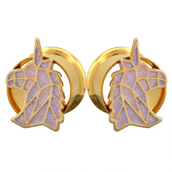 Pair of Glitter Unicorn Gold Tone Ear Tunnel Plugs Gauges