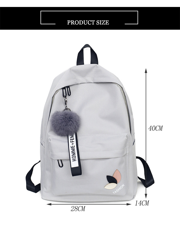 Fashion fur ball girl backpack for women 2018 teenage schoolbag College  wind High school student nylon printing back pack bag #89477