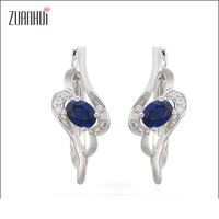 Fine Jewelry 14K gold fashion jewelry blue sapphire and real diamond Clip earrings