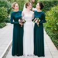 XH-176 Hot Sale Long Sleeves A-Line Bridesmaid Dress Long 2017 Satin O-Neck Vestido Madrinha Zipper Back For Weeding Party Gown