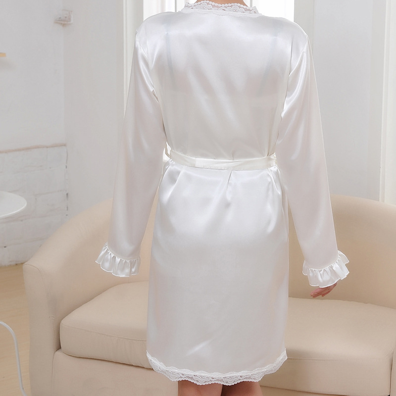 Free Shipping 2016 Summer Style Robes Bathrobe For womens New Arrival Satin Silk Lace Plus Size Bridesmaid Robes Nightwear Hot