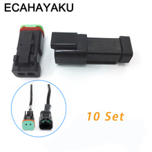 ECAHAYAKU Black 10 Sets 2 Pin Deutsch Connectors DT04-2P/DT06-2S Automobile waterproof wire electrical connector plug off-road