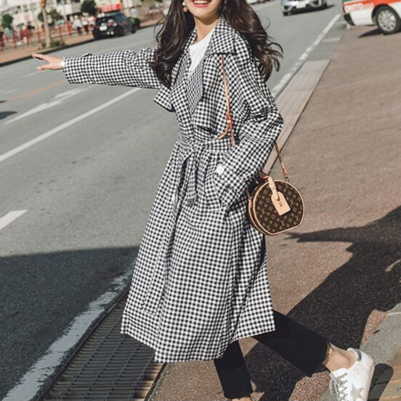 Autumn Turn Down Collar Long   Trench   Coat With Belt Women Plaid Overcoat Double Breasted Cardigan Windbreaker Women 2018 XB8258