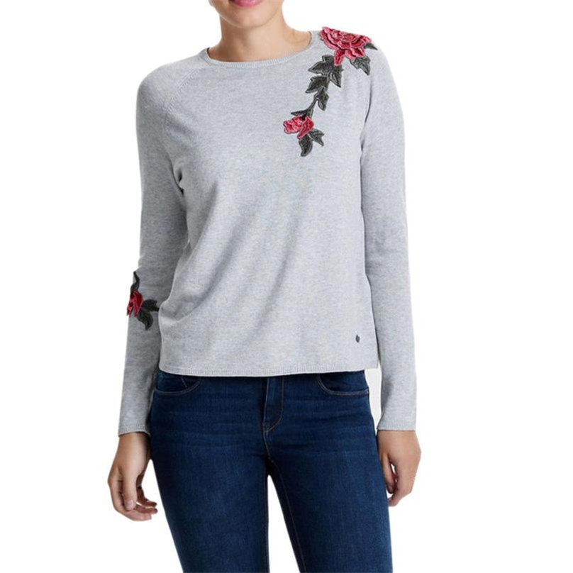 Hoodies Women Floral Printed Slim Autumn Sweatshirts Ladies Girls Round Collar Long Sleeve Casual Pullovers Appliques Tops WT#T3