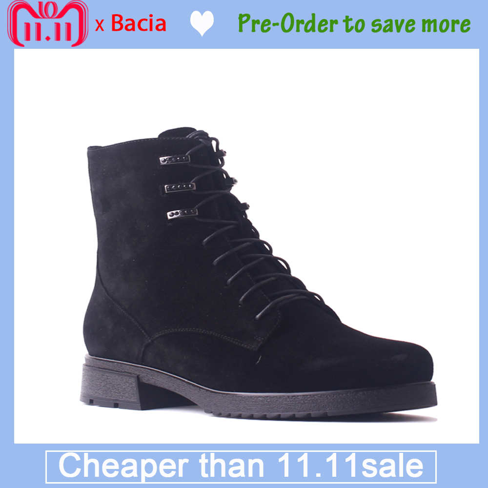 Bacia Women Kids Suede Boots Genuine Leather Wool Fur Short Boots Black Lace-Up Thick Heels Shoes Winter Warm Ankle Boots SB100 bacia winter fashion women s boots genuine leather sheep suede snow boots classic wool fur warm high heels ankle shoes sb103