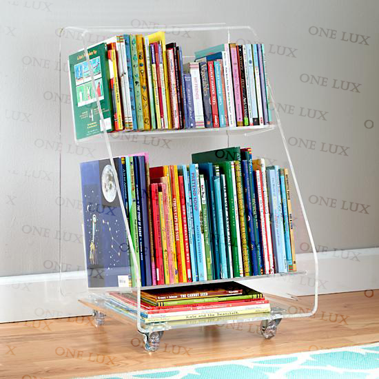 ONE LUX Clear Acrylic Book Cart On WheelsRolling Perspex BookshelfLucite Magazine Tables In Bookcases From Furniture Aliexpress