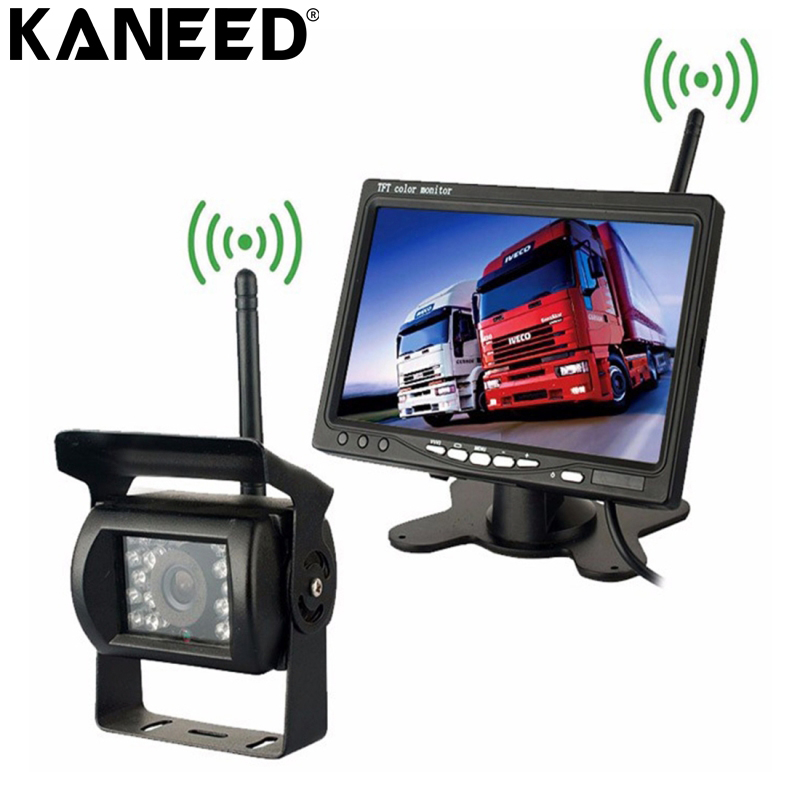 KANEED Car Truck Camera Wireless Vehicle Truck Backup Camera Monitor Infrared Night Vision Rear View Camera with 7'' HD Monitor 7 car wireless foldable tft lcd monitor with rear view infrared night vision backup camera reverse parking cam for truck bus
