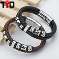 20cm New Fashion Stainless Steel Bracelet Genuine High Quality Classic Friendship Leather Bracelets & Bangles For Men Jewelry