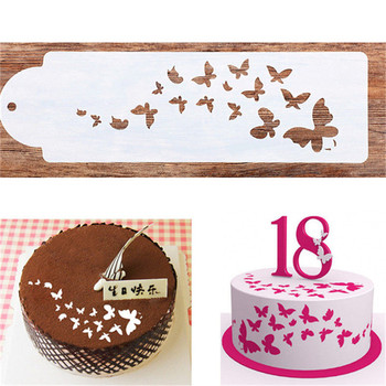Wzór motyla ciasto wzornik Airbrush plastikowe malowanie sztuki ciasto Spray na pleśń ciasteczka kremówki formy DIY ciasto z musem rondo dekorowanie tanie i dobre opinie Ce ue Ciasto narzędzia Zaopatrzony Ekologiczne Z tworzywa sztucznego JG997996 cake Spray pattern 1 Pcs White 33*10cm Cake Stencils