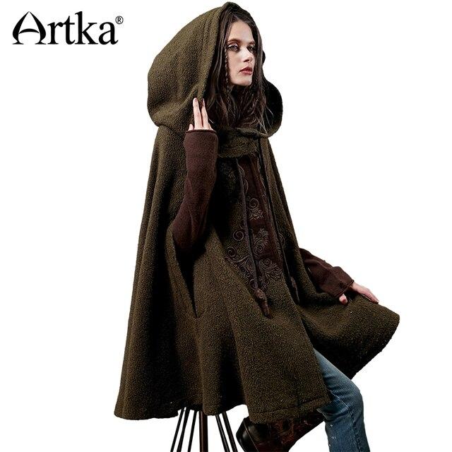 Artka Women's Winter New Vintage Warm Woolen Hoodie Cloak Coat Embroidered Drop-Shoulder Sleeve Wool Cape Outerwear WA10220D
