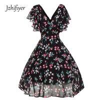 Womens V Neck Mujer Ruffles Sleeve Vestidos Fashion Feminine Dresses A Line Vintage Ladies Dresses Vestidos