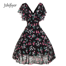 womens v neck mujer ruffles sleeve vestidos fashion feminine dresses A line vintage ladies summer clothing