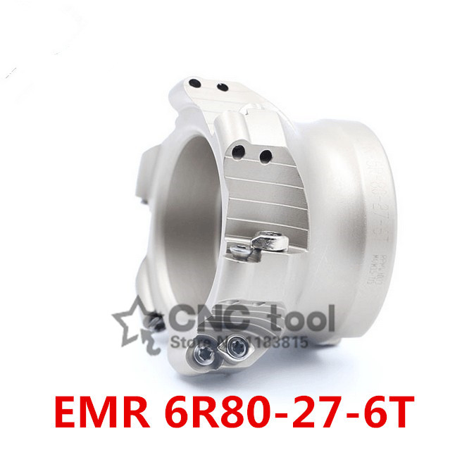 EMRW 6R 80 27 6T Face End Milling Cutter Indexable Flat Roughing Cutting CNC Milling Cutter