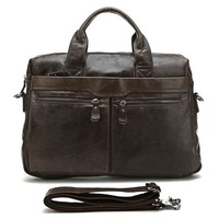 Top Grade Handmade Mens Real Soft Brown Leather Briefcase Vintage Style Messenger Shoulder 14 Inch Laptop