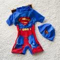 2016 Bebé Muchachos Spiderman Natación Trajes (top + pant + tapa) Summer Kids Niño de Dibujos Animados de Baño Caliente traje de Baño niños Swim Trunk Shorts