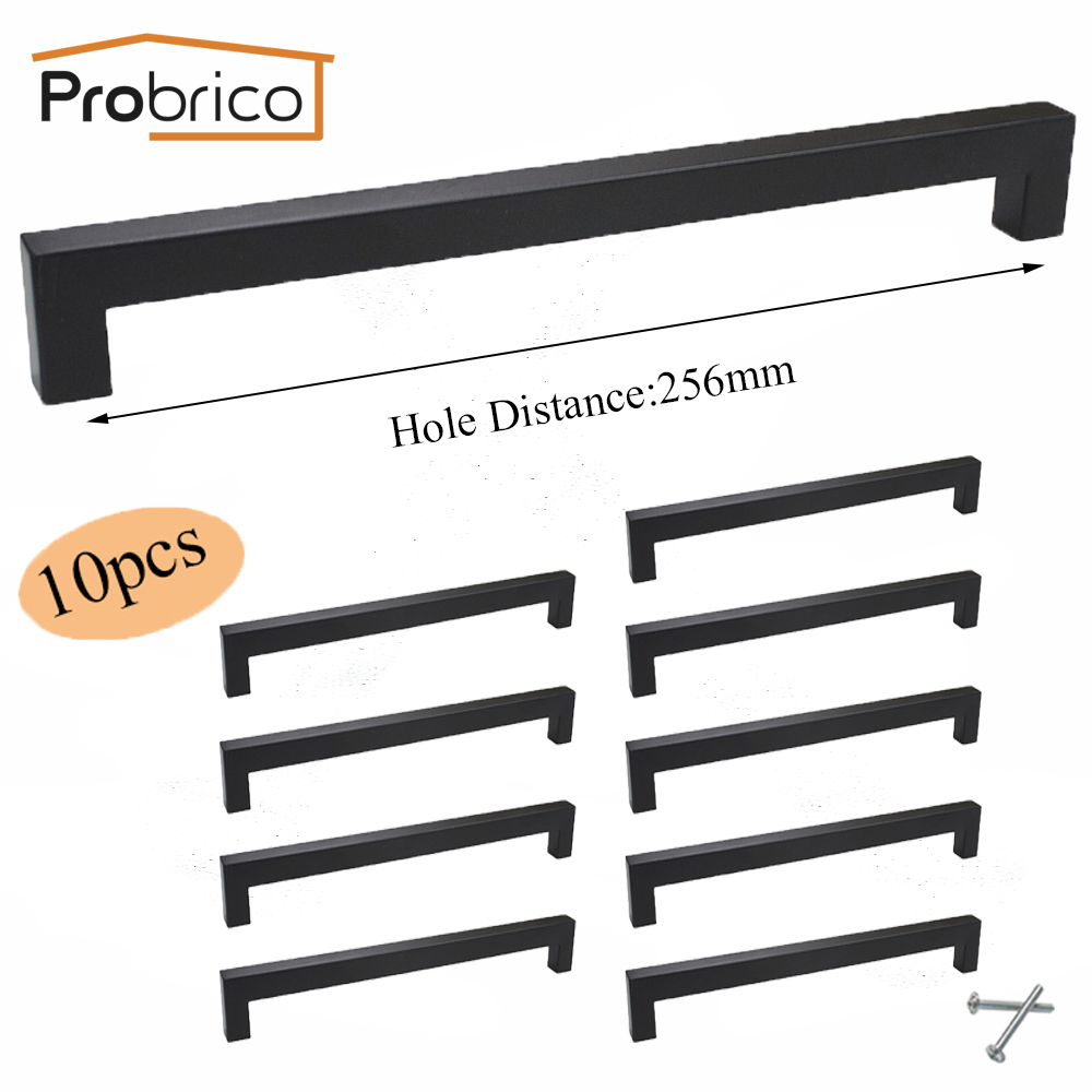 Probrico 10 PCS 15mm*15mm Black Square Bar Handle Stainless Steel CC 256mm Cabinet Door Knob Furniture Drawer Pull PDDJS15HBK256 probrico 10mm 20mm square bar handle stainless steel hole spacing 128mm cabinet door knob furniture drawer pull pddj30hss128