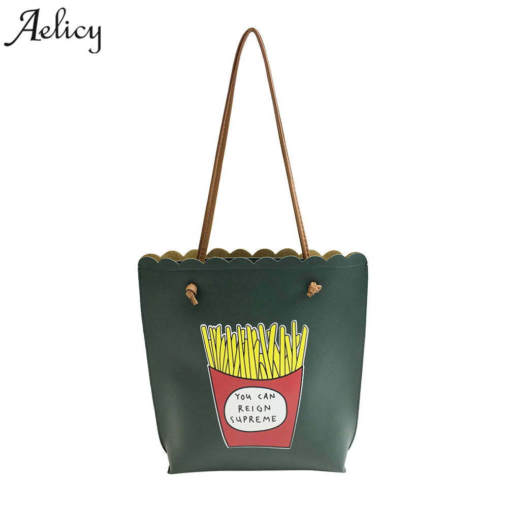 Aelicy 2018 High Quality New Fashion Designer Women Print Letter And Chips Shoulder Bag for Shopping Leather Tote Handbag